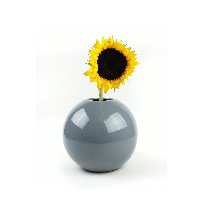 1980s Haeger Grey Round Vase