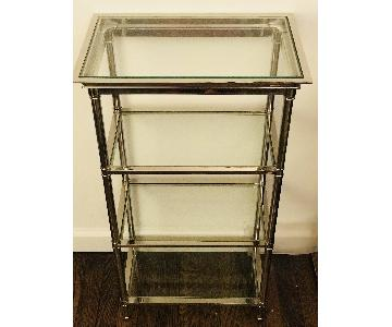 Williams Sonoma Home 3- Shelf Chrome & Glass Shelf Unit
