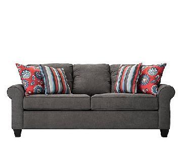 Raymour & Flanigan Betsy Chenille Sofa in Dark Gray