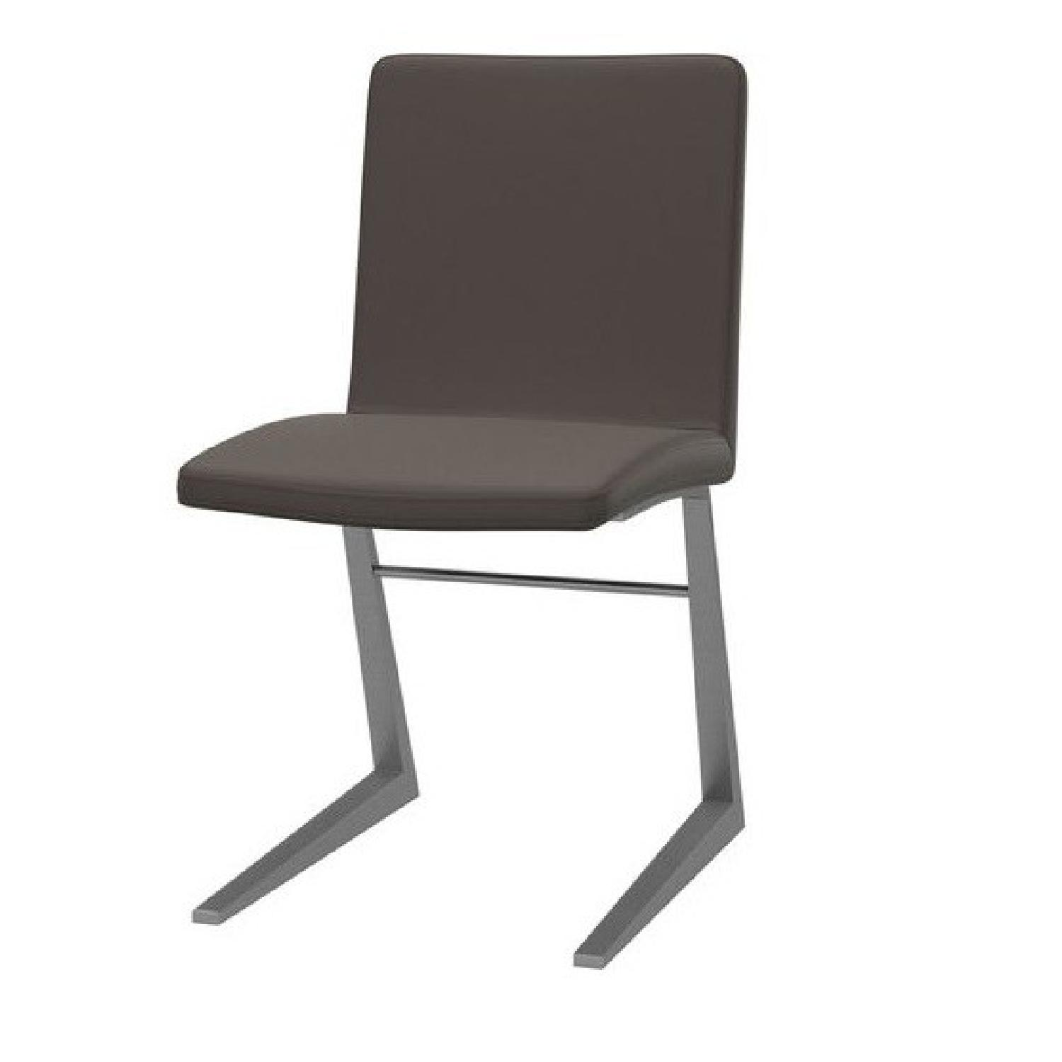 BoConcept Mariposa Grey Leather Dining Chairs