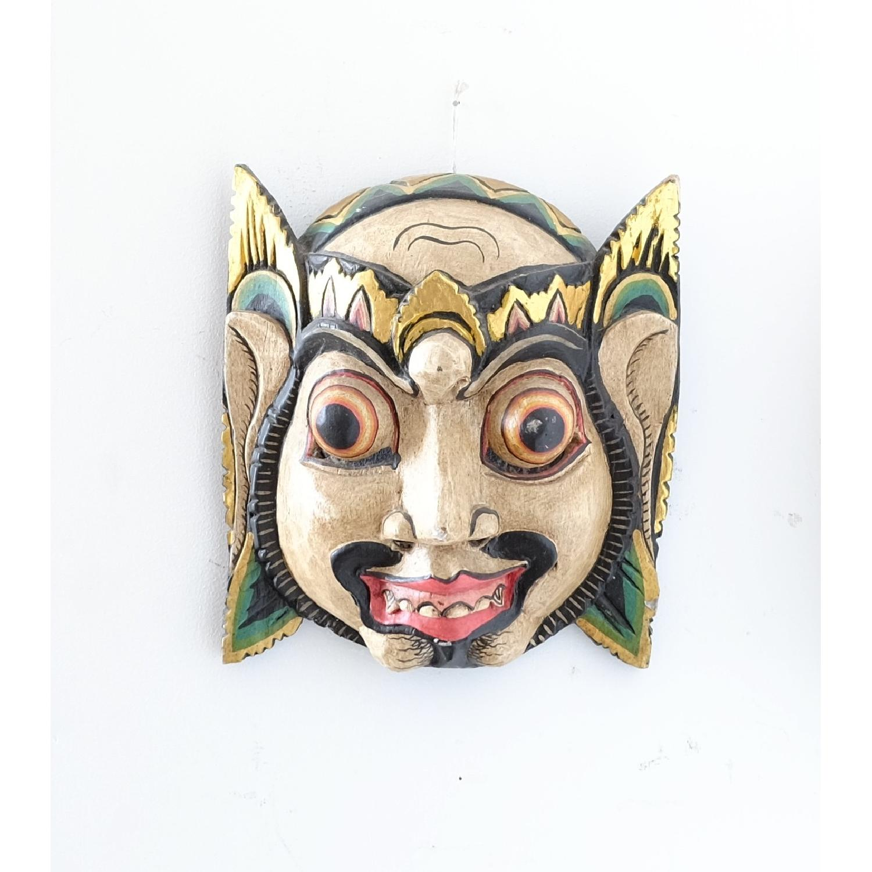 Vintage Wooden Barong Asian Mask-0