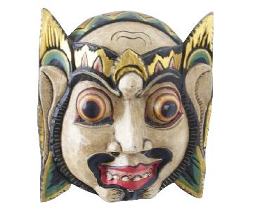 Vintage Wooden Barong Asian Mask