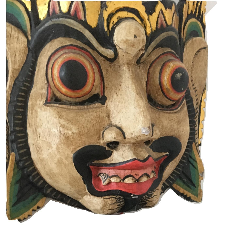 Vintage Wooden Barong Asian Mask-9