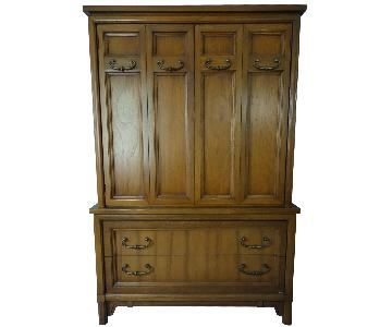 Vintage 5-Drawer 3-Cubby Wooden Armoire