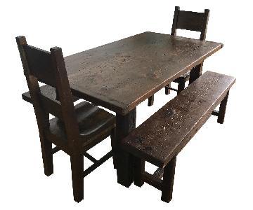 Custom Reclaimed Barnwood Farm Table w/ 2 Chairs & 2 Benches