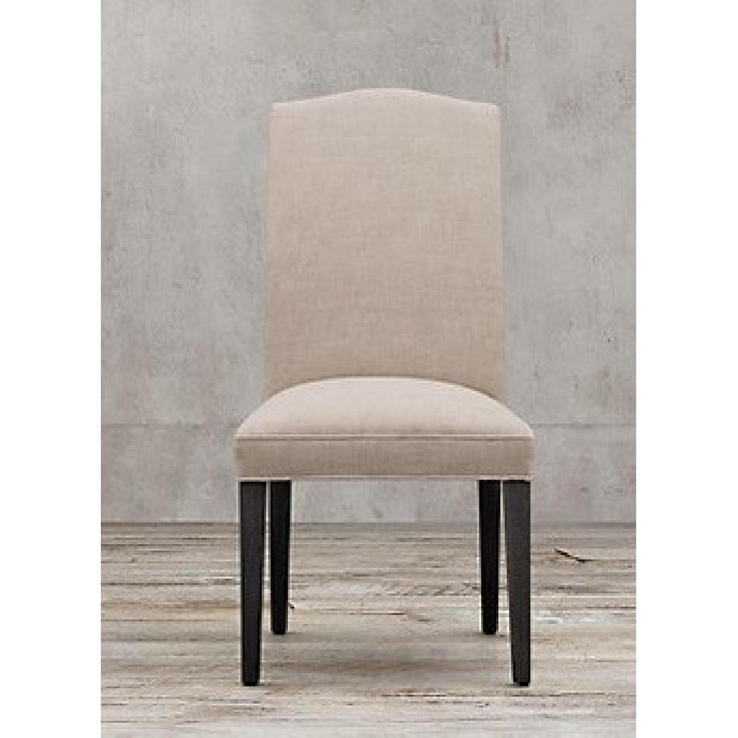 Restoration Hardware White Fabric/Black Wood Dining Chairs