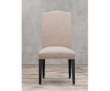 Restoration Hardware White Fabric/Black Wood Dining Chairs