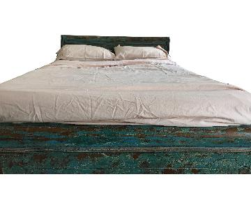 Brooklyn Reclamation Vintage Rustic Full Turquoise Wood Bed