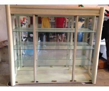 Huffman Koos White Washed Wood & Glass China Cabinet