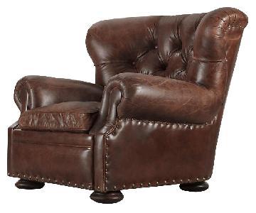 Restoration Hardware Churchill Leather Chair & Ottoman