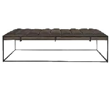 West Elm Fontanne Leather/Iron Rectangle Ottoman