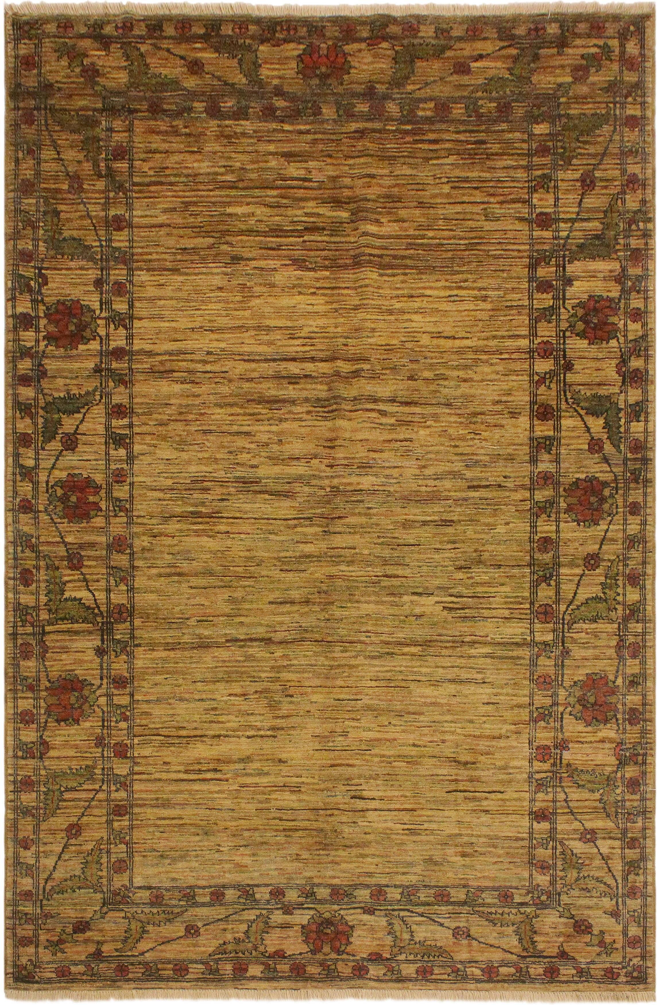 Arshs Fine Rugs Gabbeh David Tan/Red Wool Area Rug