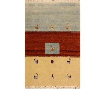 Arshs Fine Rugs Gabbeh Sammie Ivory/Lt. Blue Wool Area Rug