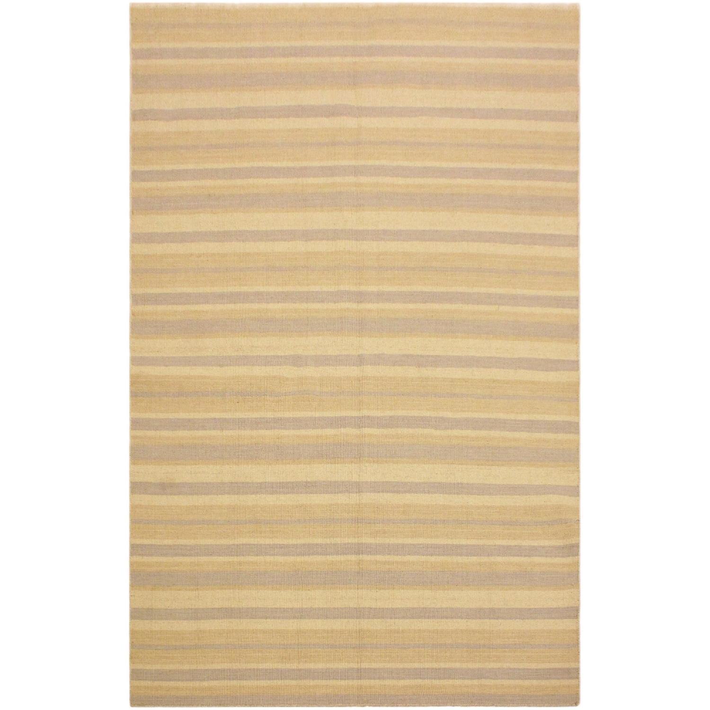 Arshs Fine Erlene Bluish Gray/Tan Hand-Woven Kilim Wool Rug