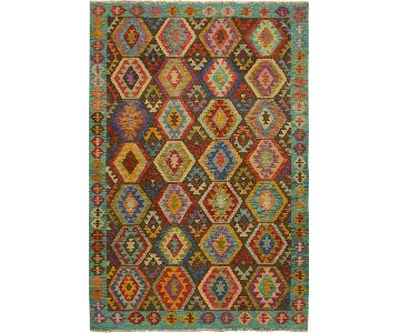 Arshs Fine Rugs Cyprian Blue/Brown Hand-Woven Kilim Wool Rug