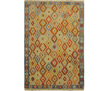 Arshs Fine Rugs Daire Ivory/Blue Hand-Woven Kilim Wool Rug