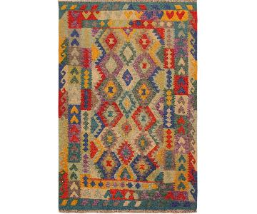 Arshs Fine Rugs Devlin Ivory/Blue Hand-Woven Kilim Wool Rug