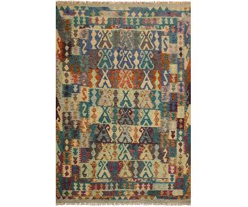 Arshs Fine Rugs Eirian Ivory/Teal Hand-Woven Kilim Wool Rug