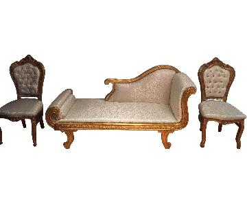 Best Home Furnishings White & Gold Chaise Lounge + 2 Chairs