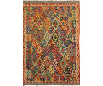 Arshs Fine Rugs Eliron Gray/Teal Hand-Woven Kilim Wool Rug