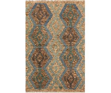 Arshs Fine Rugs Evanth Gray/Blue Hand-Woven Kilim Wool Rug