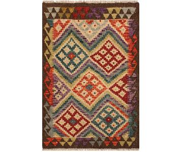 Arshs Fine Rugs Fineas Ivory/Brown Hand-Woven Kilim Wool Rug