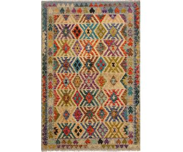 Arshs Fine Rugs Katriel Ivory/Blue Hand-Woven Kilim Wool Rug