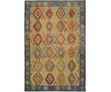 Arshs Fine Rugs Korbin Beige/Blue Hand-Woven Kilim Wool Rug