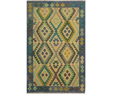 Arshs Fine Rugs Kyler Blue/Teal Hand-Woven Kilim Wool Rug