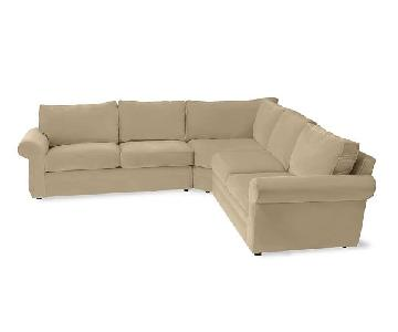 Pottery Barn Upholstered 3-Piece L-Shaped Sectional Sofa