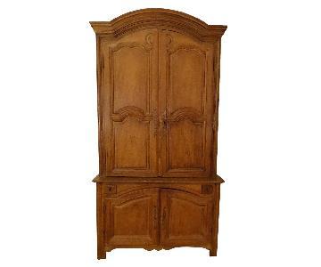Antique Oak 2-Piece Armoire/Cabinet