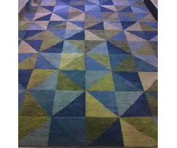 Hand-Knotted Wool Turning-Square Triangles Rug