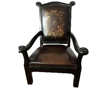 Wood & Leather Accent Chair w/ Chinese Art