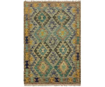 Arshs Fine Rugs Leala Gray/Teal Hand-Woven Kilim Wool Rug