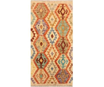 Arshs Fine Rugs Liron Ivory/Blue Hand-Woven Kilim Wool Rug