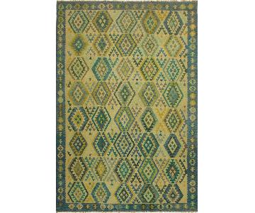 Arshs Fine Rugs Melusine Blue/Tan Hand-Woven Kilim Wool Rug