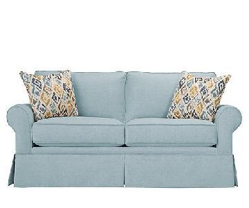 Raymour & Flanigan Sky Blue Lundie Loveseat w/ Pillows