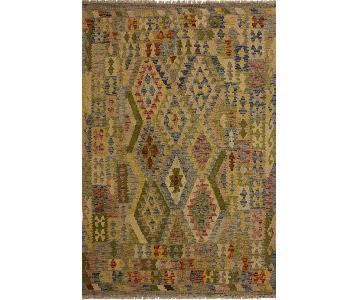Arshs Fine Rugs Phelan Gray/Green Hand-Woven Kilim Wool Rug