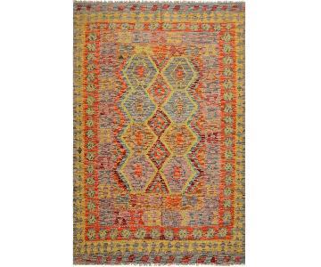 Arshs Fine Rugs Qadira Purple/Gold Hand-Woven Kilim Wool Rug