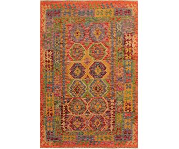 Arshs Fine Rugs Remus Orange/Blue Hand-Woven Kilim Wool Rug