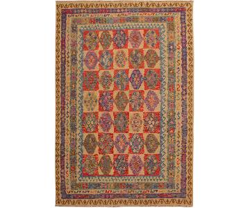 Arshs Fine Rugs Tearlach Ivory/Blue Handwoven Kilim Wool Rug