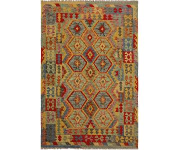 Arshs Fine Rugs Theia Blue/Gray Hand-Woven Kilim Wool Rug