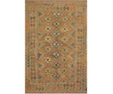 Arshs Fine Rugs Xara Gray/Blue Hand-Woven Kilim Wool Rug