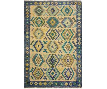 Arshs Fine Rugs Yeriel Blue/Ivory Hand-Woven Kilim Wool Rug