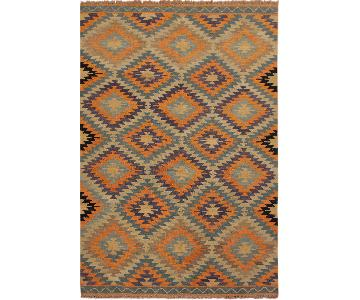 Arshs Fine Rugs Yvaine Ivory/Blue Hand-Woven Kilim Wool Rug