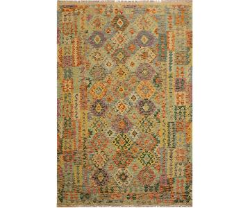 Arshs Fine Rugs Zaniel Ivory/Gray Hand-Woven Kilim Wool Rug