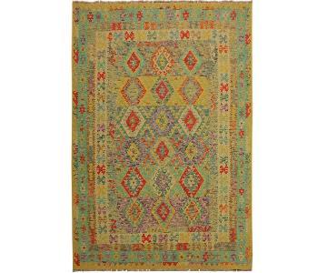 Arshs Fine Rugs Zarek Gold/Blue Hand-Woven Kilim Wool Rug