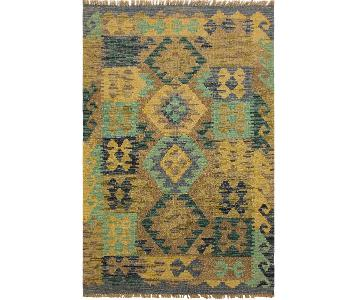 Arshs Fine Rugs Zephyr Blue/Green Hand-Woven Kilim Wool Rug