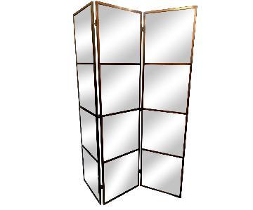 Three Panel Freestanding Mirrored Screen