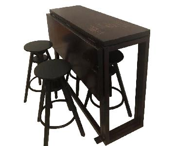 Wood Drop Leaf Table w/ 4 Bar Stools